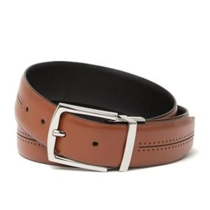 COLE HAAN British Tan Leather Feather Edge Belt